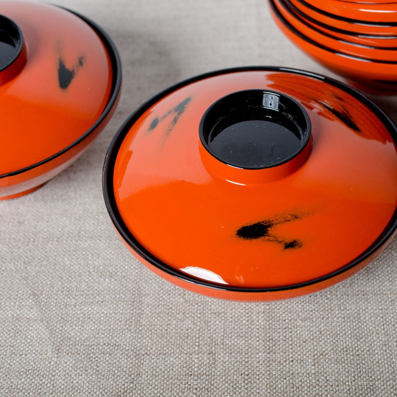 Set Of Lidded Laquered Bowls