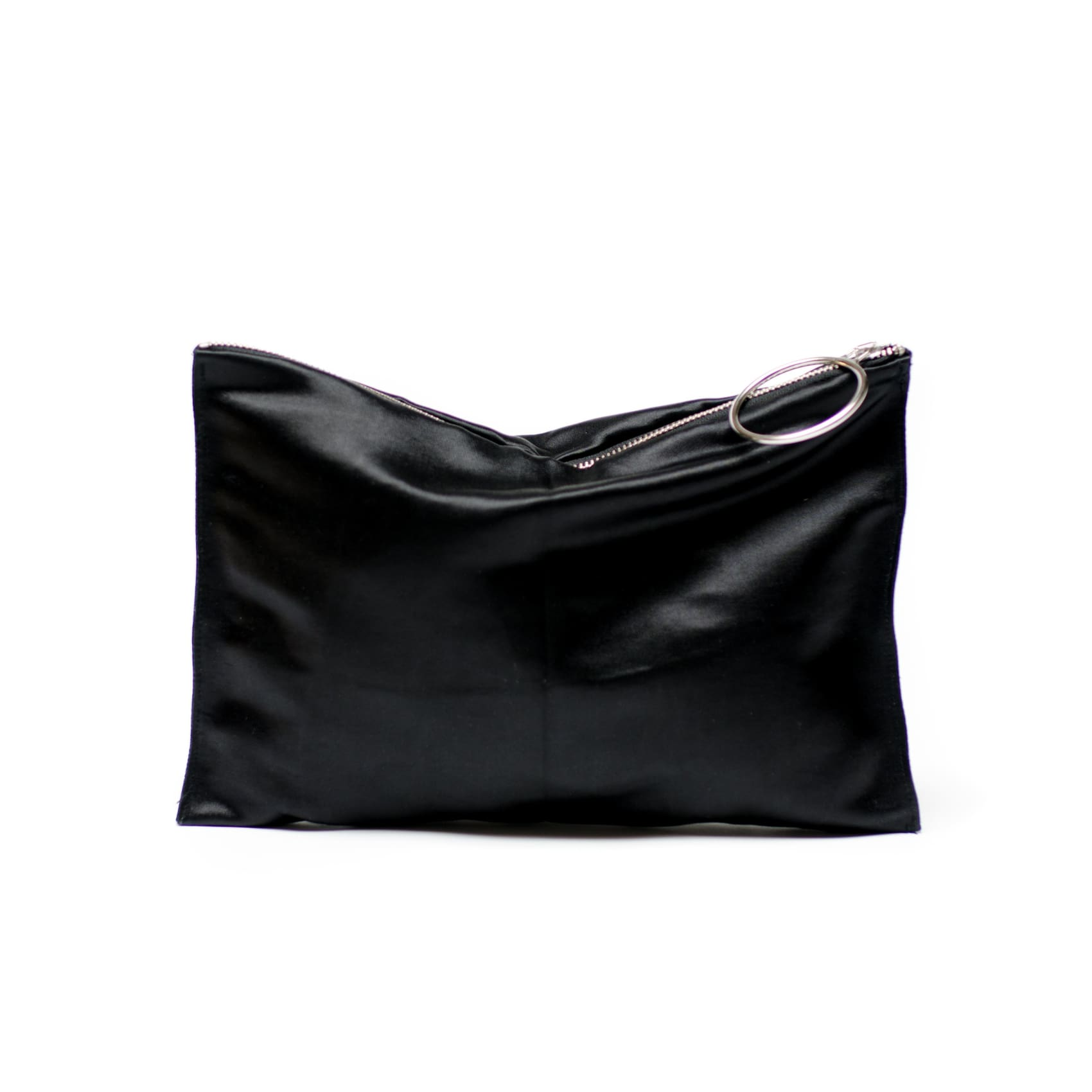 Silk Clutch - Black with Silver Hardware