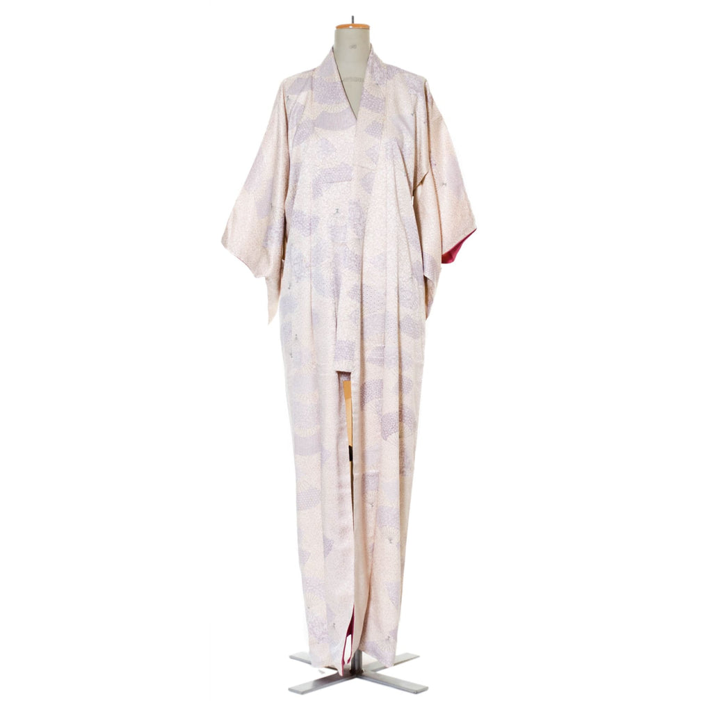 Vintage Silk Kimono Robe | Off White With Print