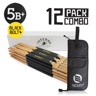 INFERNO MUSIC DRUMSTICKS 5B+ BLACK BOLTZ AMERICAN HICKORY 12 PACK & PADDED BAG
