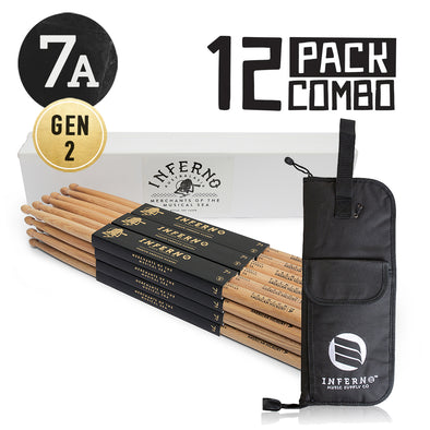 INFERNO MUSIC DRUMSTICKS 7A AMERICAN HICKORY 12 PACK DRUMSTICKS & PADDED BAG