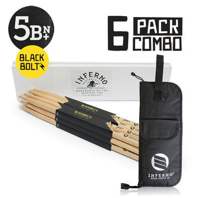 INFERNO MUSIC 5BN+ BLACK BOLTZ 6 PACK AMERICAN HICKORY DRUMSTICKS & PADDED BAG