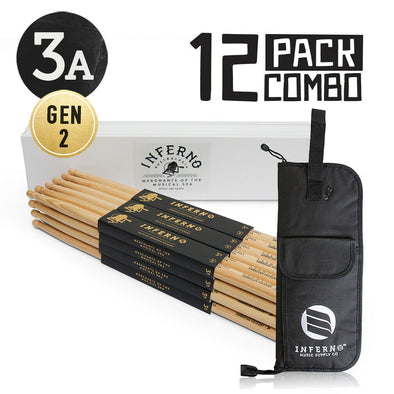 INFERNO MUSIC 3A A GRADE AMERICAN HICKORY 12 PACK GEN2 DRUMSTICKS & PADDED BAG