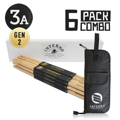 INFERNO MUSIC 3A A GRADE AMERICAN HICKORY 6 PACK GEN2 DRUMSTICKS & PADDED BAG