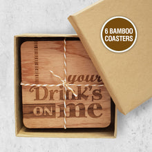 Load image into Gallery viewer, Brisbane Hand Lettering, Lasercut Laser-cut banmboo, sustainable coasters, drink coasters, Brisbane Studio, Brisbane designed and made, Brisbane Online Shop, Support Brisbane Small Business