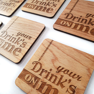 'Your Drinks On Me' Coasters. SHIPPING INCLUDED 🇦🇺