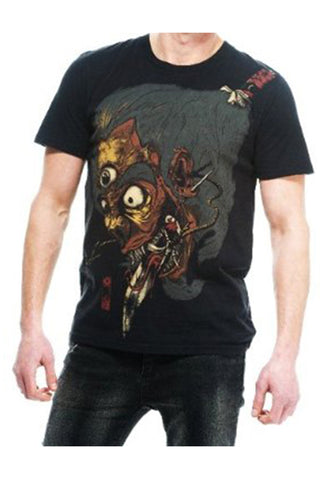 Iron Fist Black Mens Oni Skull Sword Eyeballs Horror Gore Dark T-Shirt