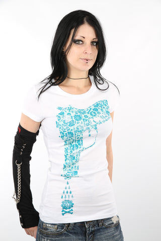 Iron Fist White Water Gun Pistol Flowers Ladies Tee T-Shirt IFL0544 Ladies Short Sleeve T-Shirts DUSK Deals