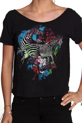 Iron Fist Black Ladies Two Space Zebras Watercolour Fashion T-Shirt