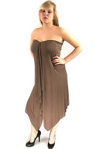 Lucky 7 Ladies Little Brown Tube Dress Flowing Fabric Lucky Seven Dress DUSK Deals