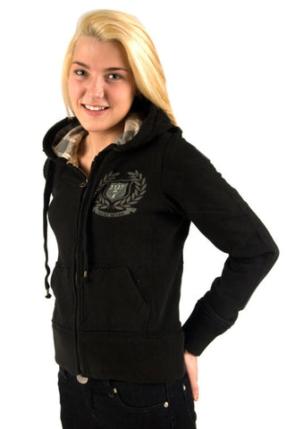 Lucky 7 Ladies Black Zip Up Crest Warm Women's Stretchy Comfy Hoodie