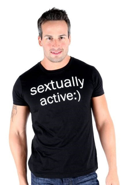 Lucky 7 Black Mens Sextually Active :) Crew Neck Text Sexting T-Shirt Mens Short Sleeve T-Shirts DUSK Deals