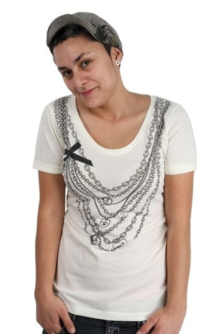 Lucky 7 Cream Ladies Lucky Charm Necklaces Bow Deep Scoop Neck T-Shirt