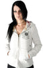 Lucky 7 Ladies Ivory Heather Gray Zip Up Crest Warm Stretchy Hoodie Ladies Hoodies and Sweatshirts DUSK Deals - 1