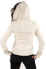 Lucky 7 Ladies Ivory Heather Gray Zip Up Crest Warm Stretchy Hoodie Ladies Hoodies and Sweatshirts DUSK Deals - 2