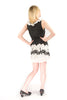 Yumi Black White Lace Polka Dot Trees Leaves Bow Smocked Lined Dress Dress DUSK Deals - 3