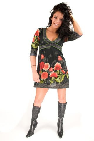 Yumi One Size Flower Garden Print Empire Waist 3/4 Sleeve Tunic Dress