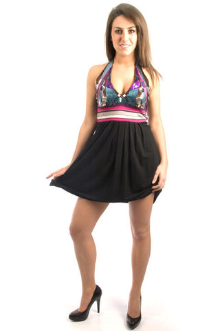 Parasuco Black Disco Sequin Multi Colour Halter Top Dress 8HALTER