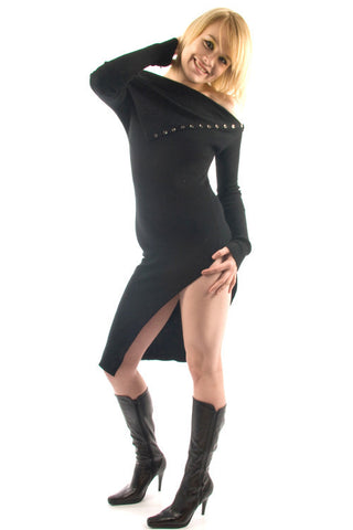 Parasuco Black Long Slit Stretch Long Sleeve Sweater Dress LF8W020