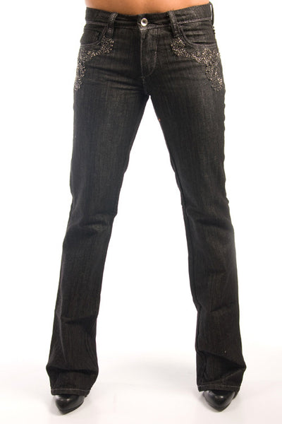 Parasuco 8088CER Low Rise Slim Fit Black Metallic Embroidered Jeans Ladies Jeans DUSK Deals - 1