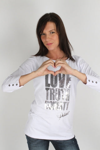 Parasuco Ladies White Sequin 8-LTH Love Truth Honesty Top 3/4 Long Sleeve Shirt