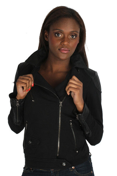 Parasuco LS8J008 Black French Terry Coat 4 Pocket Motorcycle Jacket Ladies Coats and Jackets DUSK Deals