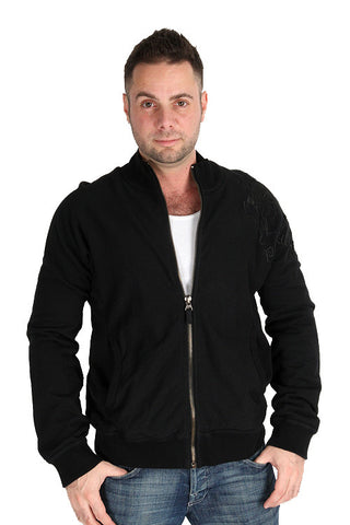 Parasuco Mens Black Fashion 9JAKE Terry Zip Up Heavy Sweatshirt Jacket Mens Hoodies and Sweatshirts DUSK Deals