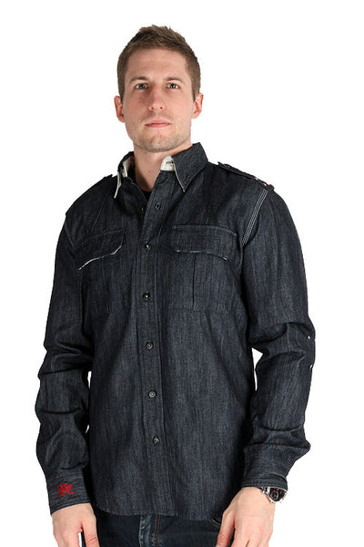 Parasuco Mens Dark Blue Button Up 9-REIGN Long Sleeve Heavy Denim Shirt Mens Shirts DUSK Deals