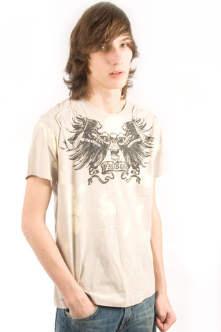 Parasuco Beige Bleached Winged Skull MS8T039 Tee Short Sleeve T-Shirt Mens Short Sleeve T-Shirts DUSK Deals - 1