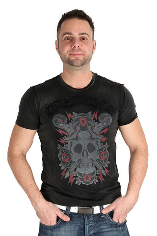 Parasuco Black Vintage Skull Sword Snakes MS0T008 Short Sleeve T-Shirt