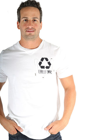 Parasuco White Recycle Reduce Rewear Environmental 9BARKO Mens T Shirt Mens Short Sleeve T-Shirts DUSK Deals - 1