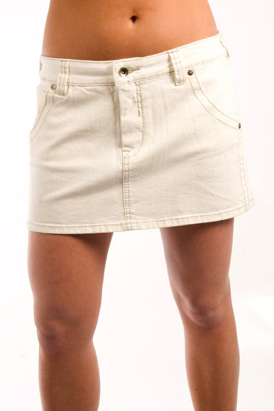 Parasuco 8607SRS White Denim 5 Pockets Ladies Mini Jean Skirt Ladies Skirts DUSK Deals - 1