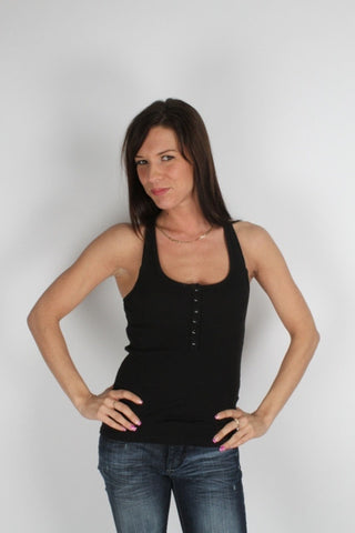 Parasuco Black Button Down Ladies Fitted Ribbed Tank Top 8-TANK Ladies Tank Tops DUSK Deals - 1