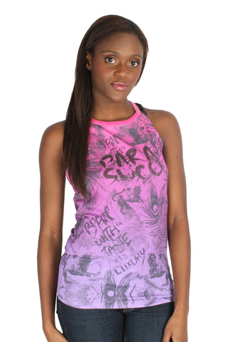 Parasuco Ombre Pink Purple Ladies Grafitti Beaded Tail Tank Top 8JULES