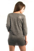 Parasuco Siver Gray LF8W022 Cowl Neck 3/4 Sleeve Long Tunic Tube Top Ladies Long Sleeve Shirts DUSK Deals - 2
