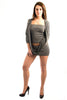 Parasuco Siver Gray LF8W022 Cowl Neck 3/4 Sleeve Long Tunic Tube Top Ladies Long Sleeve Shirts DUSK Deals - 1