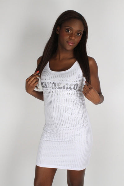 Parasuco White Ladies Silver Crystals Sleeveless Mini Dress 8LIANAL Dress DUSK Deals