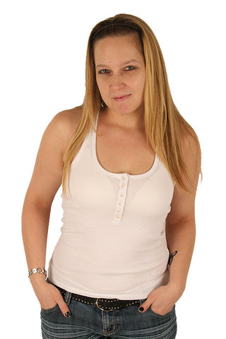 Parasuco White Button Down Ladies Fitted Ribbed Tank Top 8-TANK