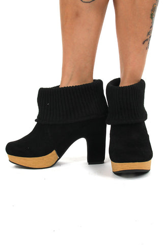 Rocket Dog Black Analise Ashley Knit Fabric Platform High Heel Booties