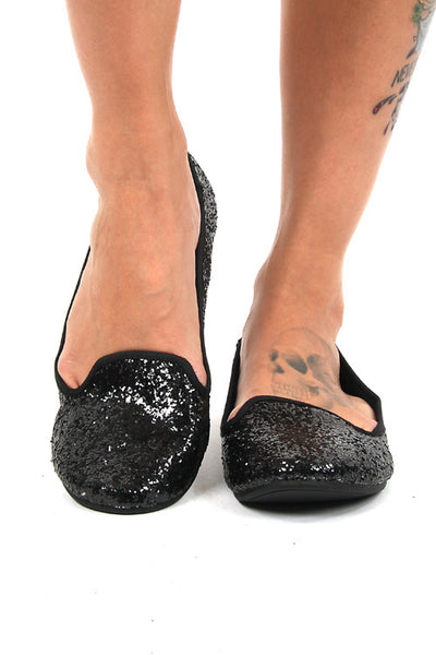 Rocket Dog Black Glitter Fabric Morrison Sparkle Flats Casual Shoes Ladies Footwear DUSK Deals - 1