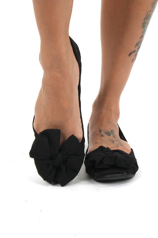 Rocket Dog Black Chiffon Knotted Bow Fabric Marlie Flats Casual Shoes