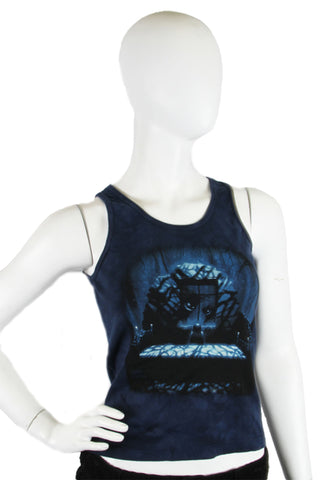 Skulbone Dark Blue Girl's Creepy Bedroom Nightmare Juniors Tank Top