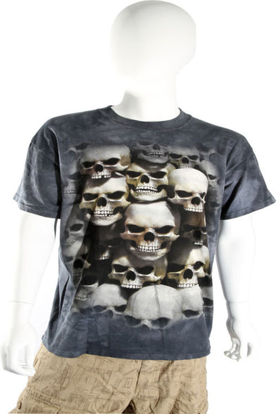 Skulbone Gray Black Grey Stacked Skulls Crypt Tee Short Sleeve T Shirt Mens Short Sleeve T-Shirts DUSK Deals