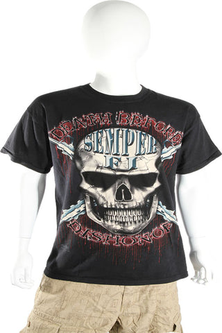 Skulbone Black Death Before Dishonor Skull Tee Short Sleeve T Shirt