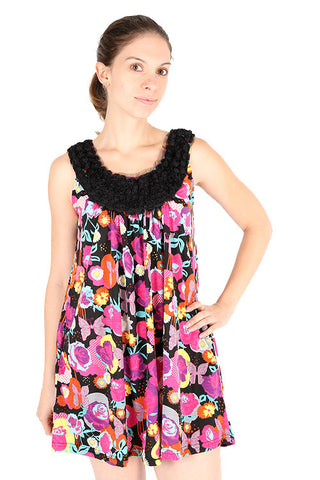 Yumi Kara Pop Flower Butterfly Tulle Roses Scoop Neck Sleeveless Dress Dress DUSK Deals - 1