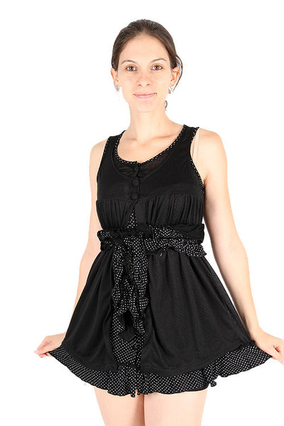Yumi Lindy Polka Dot Ruffles Scoop Neck Layered Little Black Dress Dress DUSK Deals