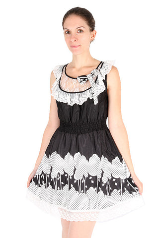 Yumi Black White Lace Polka Dot Trees Leaves Bow Smocked Lined Dress