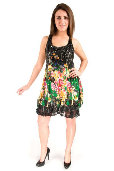 Yumi Bella Black Necklaces Floral Sleevelesss Bubble Dress Y425 Dress DUSK Deals - 1