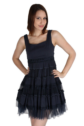 Yumi Navy Blue Mesh Lace Ribbon Empire Waist Lined Layered Tunic Dress