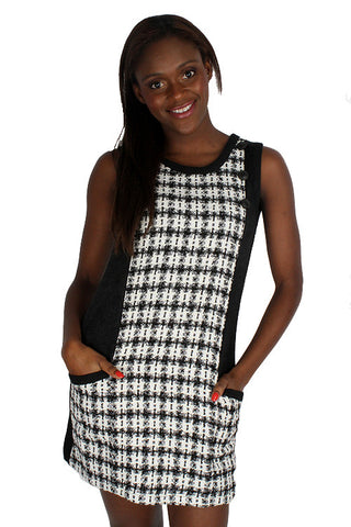 Yumi Black Ivory White Brocade Side Pockets Sleeveless Tunic Dress